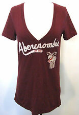 ABERCROMBIE & FITCH Ladies Burgundy V-Neck Moose Logo Cotton Blend  Shirt Size M