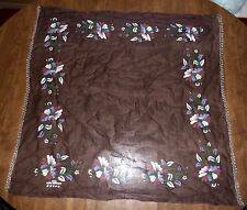 "VINTAGE TURKISH *NIL KOK BOYAMA* 34"" SQUARE FLORAL PAINTED SCARF w/ 'FANCY' EDGE"