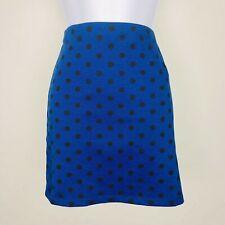 Xai Womens Skirt Sz M Blue Black Polka Dot Pencil Mini Career Casual New MX13