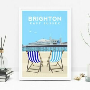 Brighton Art Print, Brighton Pier Travel Poster, Beach Original Illustration