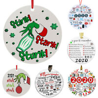 """NEW Red Gold Glitter Stripe Curly Ornament 8/"""" Grinch Christmas Tree Decoration"""