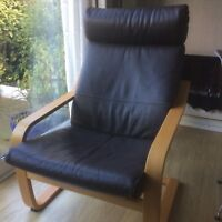 Ikea Brown Leather Poang Chair