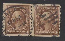 U.S. STAMP  #395 -- 4c PAIR WASH-FRANK -- FLAT, p8.5V, w190 -- 1910 -- USED