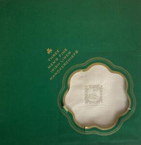 """3 Vintage Men's Irish Linen Handkerchief Hand Rolled & Embroidered w/ """"W"""" NIB"""