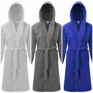 Unisex Egyptian Cotton Hooded Bath Robe Dressing Gown House Coat Terry Towelling