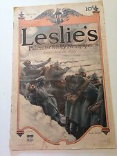 Leslie's Illustrated Weekly Newspaper March 11, 1915 WWI Trench Cover Vintage