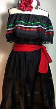 OFF SHOULDER Wedding BLACK DRESS 3 PIECE w/SASH MEXICAN FIESTA 5 DE MAYO SZ L XL