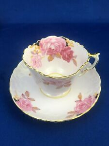 Aynsley Big Roses Pink Old Style Tea Cup And Saucer Mint Condition