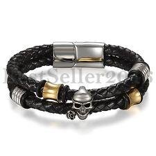"Mens Bracelet Double Layers Warp Skull Head Braided Wristband Black Leather 8"""