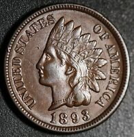 1893 INDIAN HEAD CENT -With LIBERTY & Near 4 DIAMONDS - AU UNC