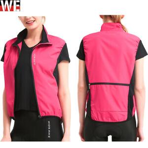 Women's Pink Cycling Vest Full Zip Windproof Gilet Bicycle  Running Wind Coat
