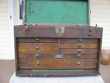 Union Leroy NY  USA  oak machinist tool chest box