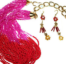 M Miriam HASKELL Pink Glass Bead STATEMENT NECKLACE Flower EARRING Lot Gold tone