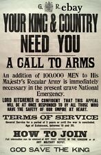 WW1 BRITISH ARMY RECRUITING POSTER FOR KING AND COUNTRY NEW A4 PRINT