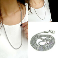 Fashion Unisex 2mm Snake Chain Stainless Steel Necklace Silver