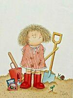 Gardening. Sweet 1980s ORIGINAL commercial greetings card artwork illustration.