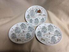 "3 Department 56 Salad Dessert Plates~Lamb Sheep Trees Stars Stable~8 1/4"" dia"