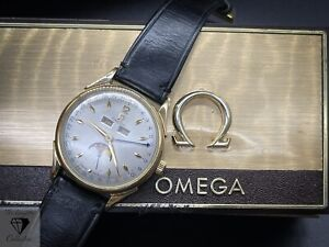 Exceptional Omega 2606-4 Moonphase Cal 381 Original Box & Leather Strap & Buckle