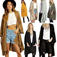 Womens Ladies Open Knitted Ribbed Baggy Oversized Cape line Cardigan Jumper Tops