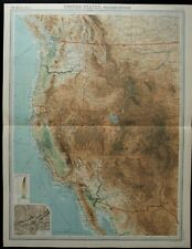 Vintage Map: United States Western Section by John Bartholomew, Times Atlas 1922