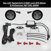 TOP Qualität LED Tagfahrlicht 8 SMD Rund Ø70-90mm E4-Prüfzeichen DRL 6000K  (37
