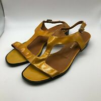 Ralph Lauren Women's Size 7.5 Yellow Leather Strap Heeled Sandals Strappy Shoes