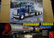 AMT Shell Tanker Trailer & Revell Kenworth W-900 1:25 Scale Model Kits  NEW