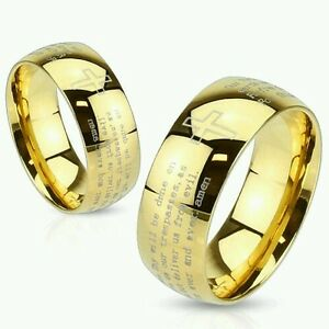 Stainless Steel Gold IP Lord's Prayer & Cross Ring - Dome Band Ring Sizes 5 - 11