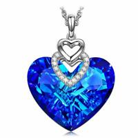 3.00 CT Sapphire Blue Tanzanite Heart 18K White Gold Filled Necklace ITALY MADE