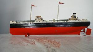 Rare Ship Antique German Fleischmann Tin Esso Oil Tanker Boat  GFN Marklin