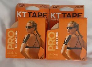 NEW! 2 KT Tapes PRO Stealth Beige 20 Pre-Cut 10 inch Strips | Free Shipping