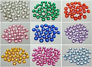 250 Acrylic Rhinestone Flatback Faceted Round Gems 8mm No Hole Color Choice