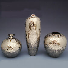 Modern Height22/40/22CM HomeDecoration Ceramic Artworks Silver Plated Vases 3Pcs