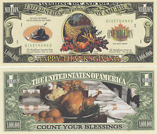 Two Thanksgiving Holiday Novelty Money Bills # 225