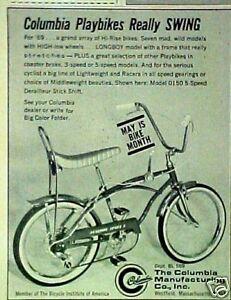 1969 Columbia Playbikes Sport 5 Bicycles~Longboy Boys Bike Swing Trade AD