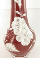 GDR Vintage German Porcelain Vase Blood Red with White flowers & Metallic detail
