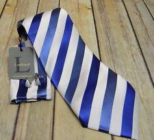 LANDISUN BLUE WHITE Stripe Pattern Mens Silk TIE SET Tie Hanky Cufflinks