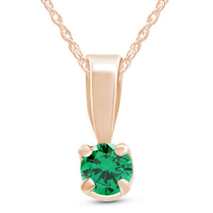 Round Green Emerald Solitaire Pendant Necklace 10K Rose Gold Over Sterling