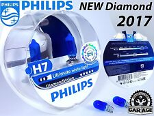 NEW H7 Philips Diamond Vision 5000K White Car Headlight Bulbs 12V 55W + Blue W5W