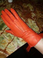 Vintage Women's Ann Taylor Orange Leather Gloves Sz 7, brand new!