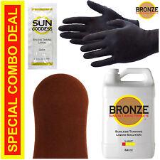 Spray Tan Solution - LIGHT - 64 oz + Mitt, Gloves & Sunless Self Tanning Lotion