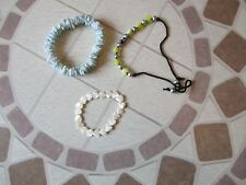 Bracelet Bundle, Light Blue Shells, Pearl Shaped Love, String Beaded Bracelet