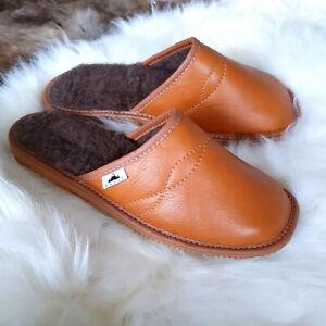 Men's Luxury Handmade 100% Genuine Real Leather Mule Slippers wool insoles