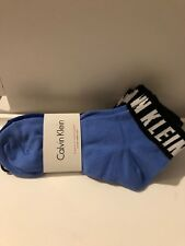 3x Pairs Calvin Klein LOGO Ladies Ankle Socks Blue Black U.K. 4-7