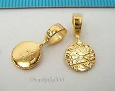 2x 18K GOLD plated STERLING SILVER GLUE ON DROP PENDANT BAIL 4.3mm cord G222