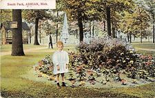 C24/ Adrian Michigan Mi Postcard 1910 South Park Child Fountain Gazebo