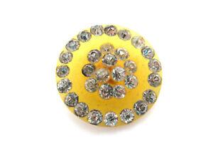 RARE Antique Apple Juice BAKELITE Paste Rhinestone Diamante Button Art Deco