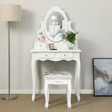 White Modern Mirror Stool Makeup Desk Dressing Table Girl Bedroom Dresser Set