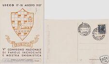 # LECCO: V CONVEGNO NAZ. PAROLE INCROCIATE E MOSTRA ENIGMISTICA- 1957