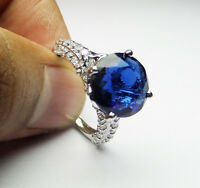 2.31CT fancy blue round solitaire & accent STERLING SILVER wedding ring NR #320